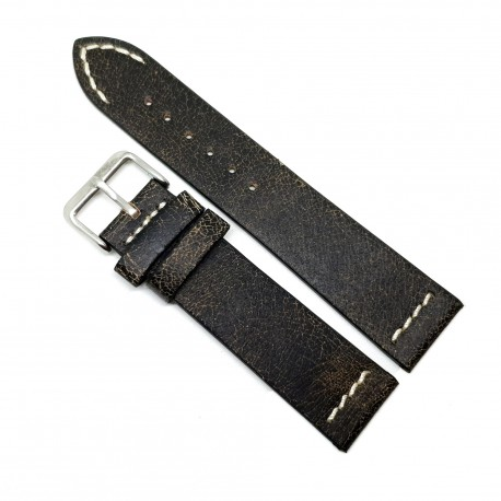 Curea pentru ceas Neagra Vintage din piele naturala- 22mm - C3247