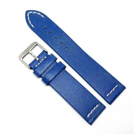 Curea pentru ceas Albastra Vintage din piele naturala- 22mm - C3250