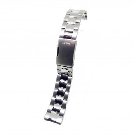 Bratara de ceas cu capete curbate Argintie FOSSIL pentru ceasul ME3205 - 22mm