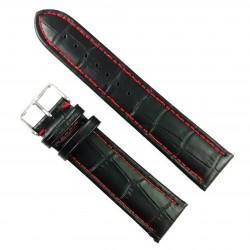 Curea de ceas Neagra din piele naturala cu cusatura rosie - 22mm - WZ3418