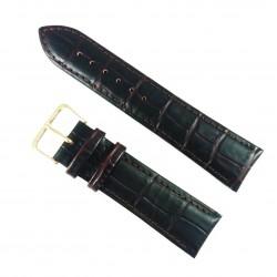 Curea de ceas Maro-inchis din piele naturala cu imprimeu crocodil - 18mm, 20mm, 22mm - WZ3422
