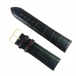 Curea de ceas Maro-inchis din piele naturala cu imprimeu crocodil - 20mm, 22mm - WZ3422