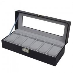 Caseta pentru 6 ceasuri Black Carbon - WZ3446