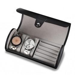 Caseta transport si depozitare pentru 2 ceasuri si bijuterii din piele ecologica - Rosie / Neagra / Carbon - WZ3450