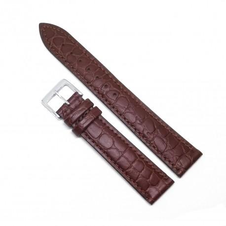 Curea de ceas maro din piele naturala, imprimeu sarpe - WZ3576