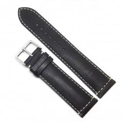 Curea de ceas neagra din piele naturala - 20mm, 22mm - WZ3577