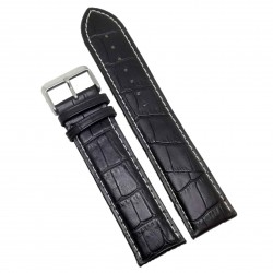 Curea Ceas XXL Piele Neagra 26mm Imprimeu Sapre WZ764