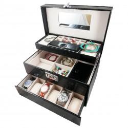 Caseta Pentru Bijuterii Rosie / Neagra - Grande Casablanca WZ683