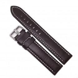 Curea de ceas XL - Azzuro - Maro + cusatura Alba - 20mm - WZ3694