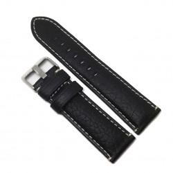 Curea de ceas din piele naturala Neagra + cusatura alba - 24mm - WZ3695