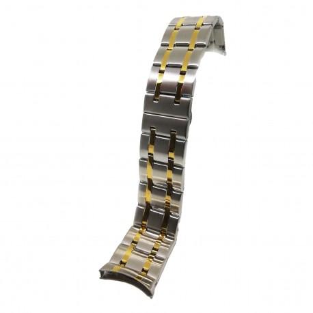 Bratara de ceas Bicolora din Otel Inoxidabil - Capete Curbate - 24mm - WZ3783