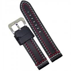 Curea ceas piele neagra cu dubla cusatura rosie + alba 20mm 22mm 24mm WZ926