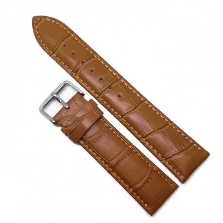 Curea de ceas - Piele Naturala - Antialergica - Maro Deschis - Imprimeu Crocodil - 14mm - 24mm - WZ3800