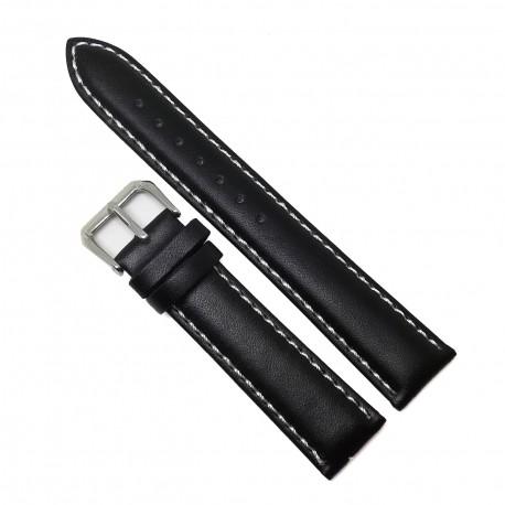 Curea de ceas - Piele Naturala Neagra - Cusatura Alba- 20mm - WZ3806