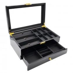 Cutie depozitare si organizare ceasuri, ochelari și bijuterii - Culoare Neagra - LEMN - H60-1N