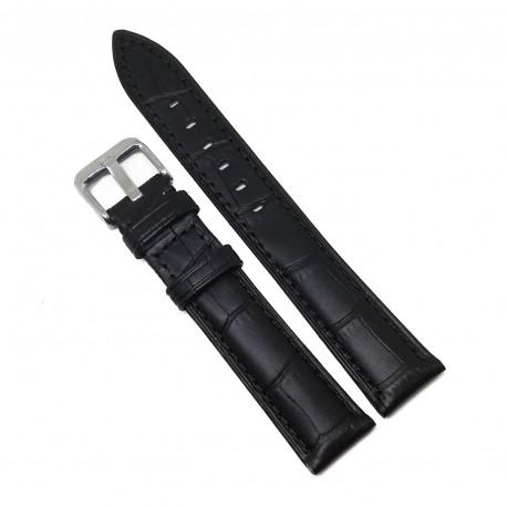 Curea de ceas din Piele Naturala - Culoare Neagra si  Imprimeu Crocodil - 18mm - GR3874