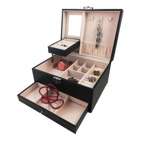 Caseta de bijuterii din lemn -  Rosu / Negru - Perfecta - WZ3924