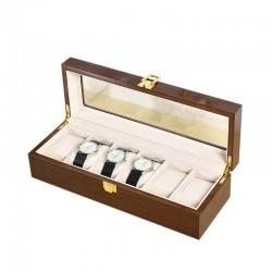 Cutie pentru depozitare / expunere 6 ceasuri - Lemn lacuit - Culoare Nuc 6LML