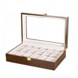 Cutie pentru depozitare / expunere 12 ceasuri - Lemn lacuit - Culoare Nuc 12LML