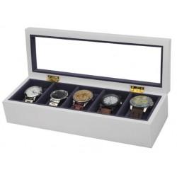 Cutie pentru 5 ceasuri - Lemn MDF - Culoare Alba / Neagra - WZ3929