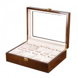 Cutie pentru depozitare / expunere 10 ceasuri - Lemn lacuit - Culoare Nuc - WZ3925