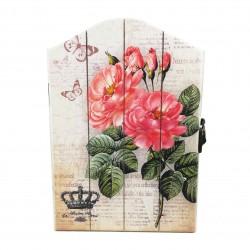 Cutie pentru Chei din Lemn cu motiv floral - WZ3940