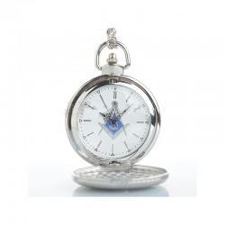 Ceas Argintiu De Buzunar Cu Simboluri Masonice WZ012