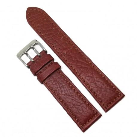 Curea de ceas din Piele Naturala - Culoare Rosie - Catarama dubla - 22mm - WZ3982