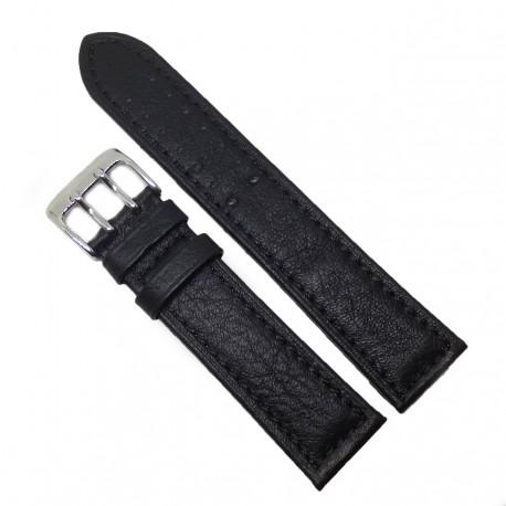 Curea de ceas din Piele Naturala - Culoare Neagra - Catarama dubla - 22mm - WZ3988