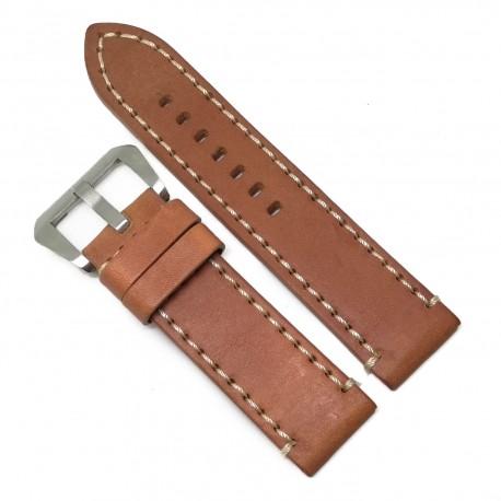Curea de ceas Robusta din Piele Naturala - Culoare Maro-deschis, cusatura alba - 24mm - WZ4021