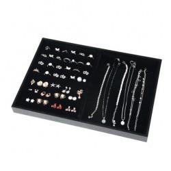 Tava pentru expunere bijuterii invelita in catifea Negru / Gri - WZ4058