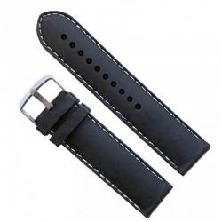 Curea silicon 22mm neagra si cusatura alba WZ959