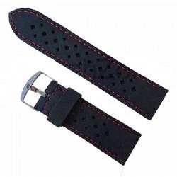 Curea ceas silicon negru cusatura rosie 24mm WZ958