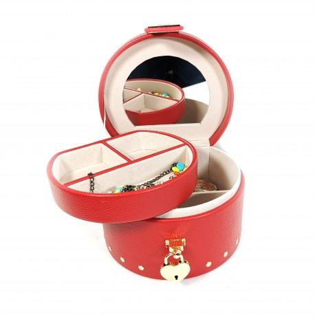 Caseta de Bijuterii Valentino - Piele ecologica - Rosie / Neagra - W4201