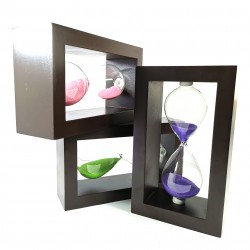 Clepsidra din lemn cu nisip colorat - 3 minute - Roz / Verde / Mov - W4203