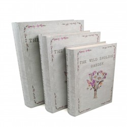 """Set De 3 Cutii pentru Depozitarea Bijuteriilor Tip Carte """"The Wild English Garden"""" - WZ2641"""