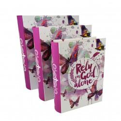 """Set De 3 Cutii pentru Depozitarea Bijuteriilor Tip Carte """"Butterfly"""" - WZ4217"""