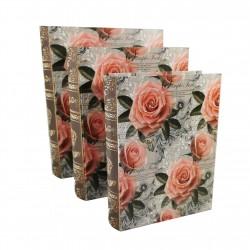 """Set De 3 Cutii pentru Depozitarea Bijuteriilor Tip Carte """"Rose"""" - WZ4218"""