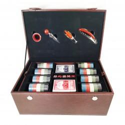 Caseta din Piele cu Joc de Poker, Zaruri si Accesorii pentru Vin - WZ4228