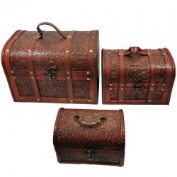 Set 3 cufere din lemn decorate oriental WZ2584