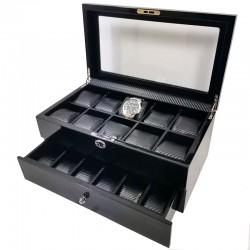 Cutie depozitare si organizare 16 ceasuri NEAGRA WZ483