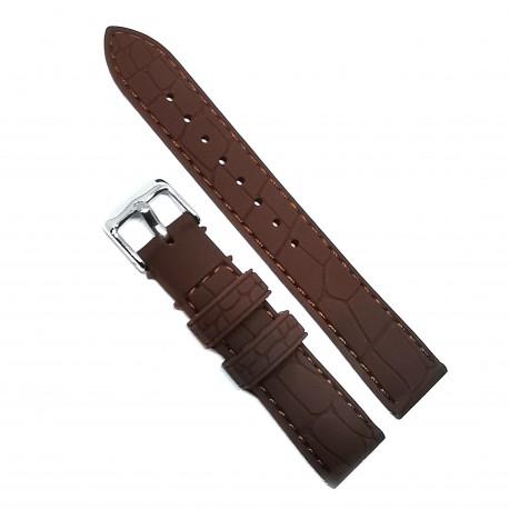 Curea de ceas din Silicon - Culoare Maro - Imprimeu Crocodil - 18mm / 20mm / 22mm - 6S12