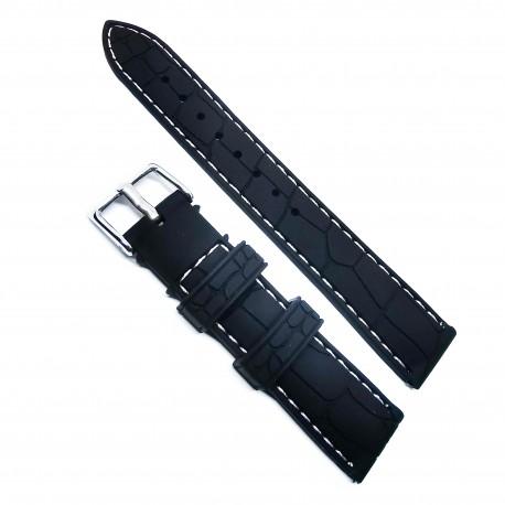 Curea de ceas din Silicon - Culoare Neagra - Imprimeu Crocodil - 18mm / 20mm / 22mm - 6S12