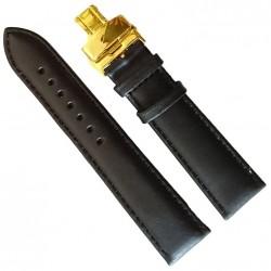 Curea ceas din piele neagra Deployant auriu 20 mm, 22 mm, 24 mm