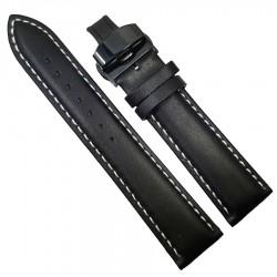 Curea ceas din piele neagra cu cusatura alba + Deployant negru 14mm 16mm 18mm 20mm 22mm 24mm