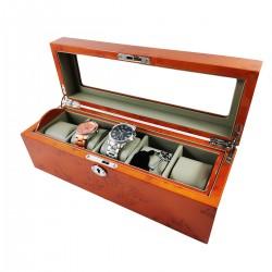 Cutie din lemn pentru 5 ceasuri - Culoare Orange - CH33