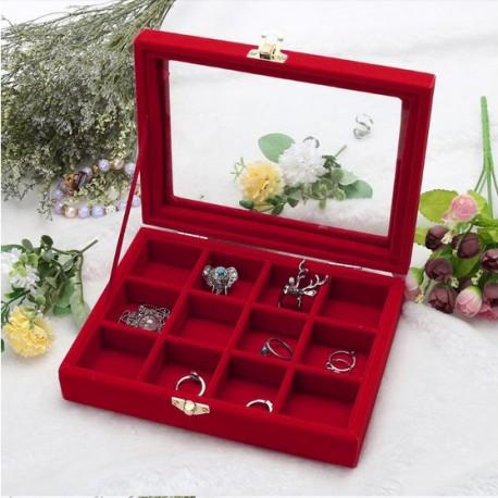 Caseta pentru bijuterii cu 12 spatii Catifea Rosie sau Fuchsia