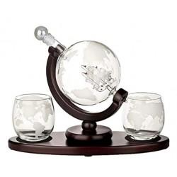 Set pentru Cognac, Whiskey Sticla-decantor glob, 2 pahare si suport din lemn