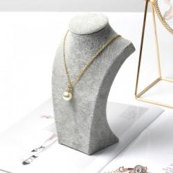 Bust expunere bijuterii - Catifea Gri BU2980 L