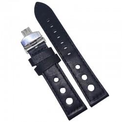 Curea de ceas Peyton Neagra din piele naturala cu gaurele 20mm, 22mm, 24mm - WZ4220D